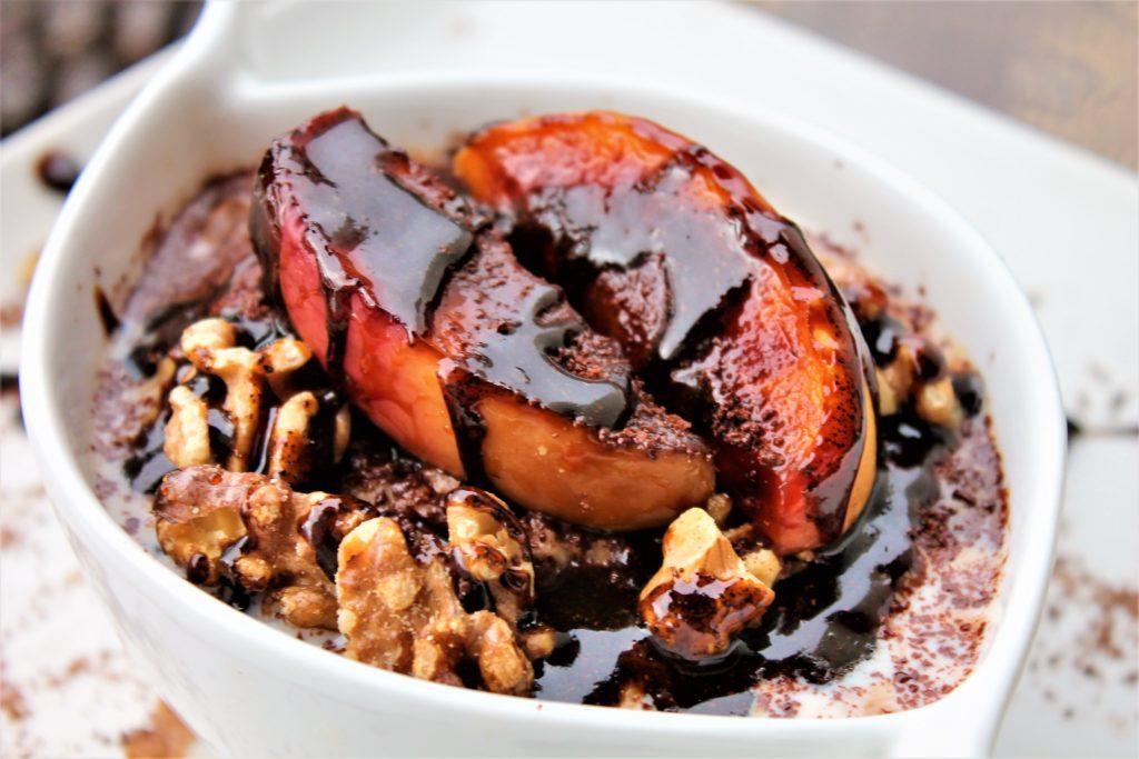 Coffee Infused Honey, Dark Chocolate, Apple and Walnut Porridge