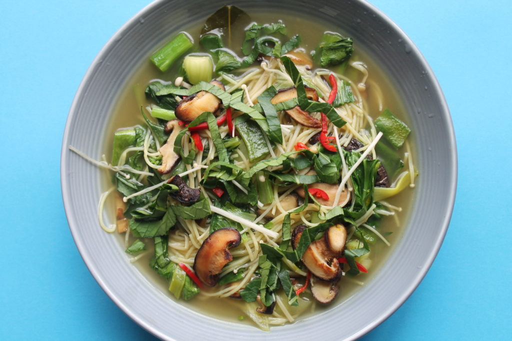 Asian Inspired Rice Spaghetti Green Vegetable Broth
